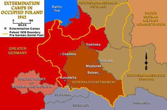 Map of Extermination Camps in Poland