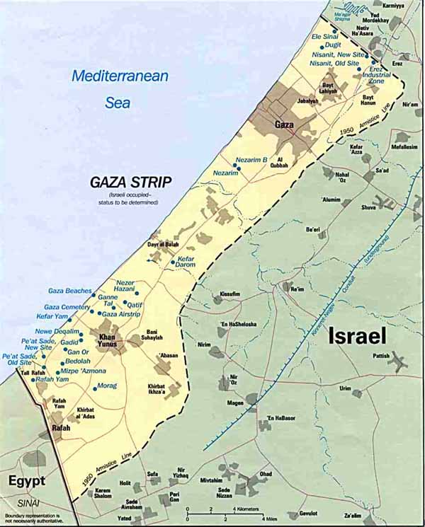 Map of Israeli Settlements in the Gaza Strip 1993