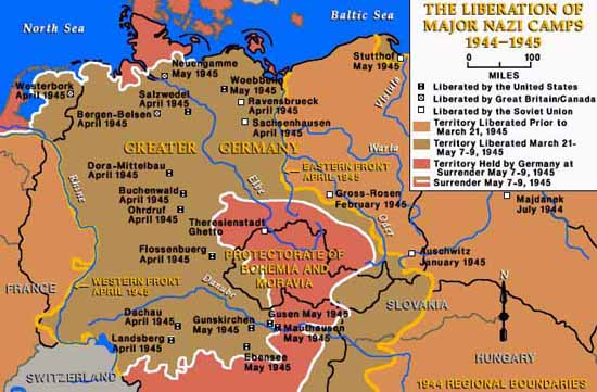 Map Of Allied Liberated Concentration Camps - Germany map of concentration camps