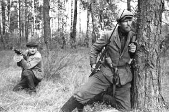Partisans operating in the forest of Belarus
