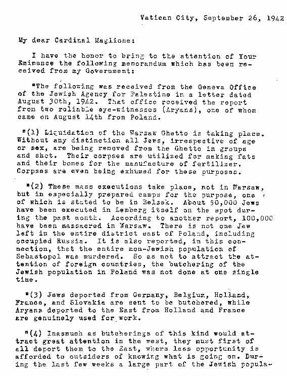 Taylor Letter to Cardinal Maglione Describing Holocaust (September
