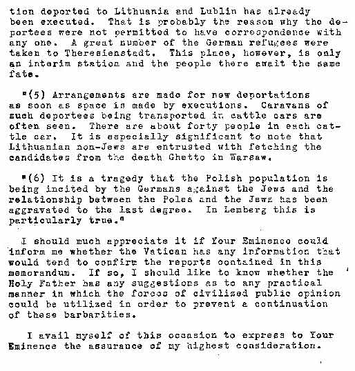 Taylor Letter To Cardinal Maglione Describing Holocaust
