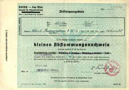 Application To Nazi Party 1940