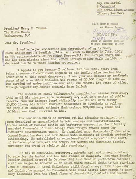 Truman letter from Raoul Wallenberg's brother
