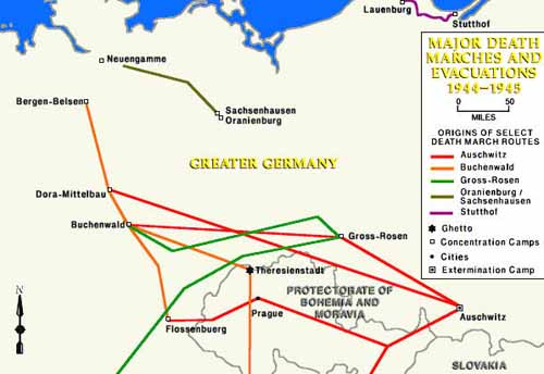 Map Of Evacuation Of Nazi Camps Death Marches Of Prisoners - Us concentration camps ww2 map