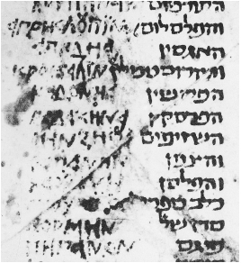 Figure 26. Yevanic square script in a Hebrew-Greek glossary of the tenth century C.E. Leningrad Public Library, Antonin Evr. III B.