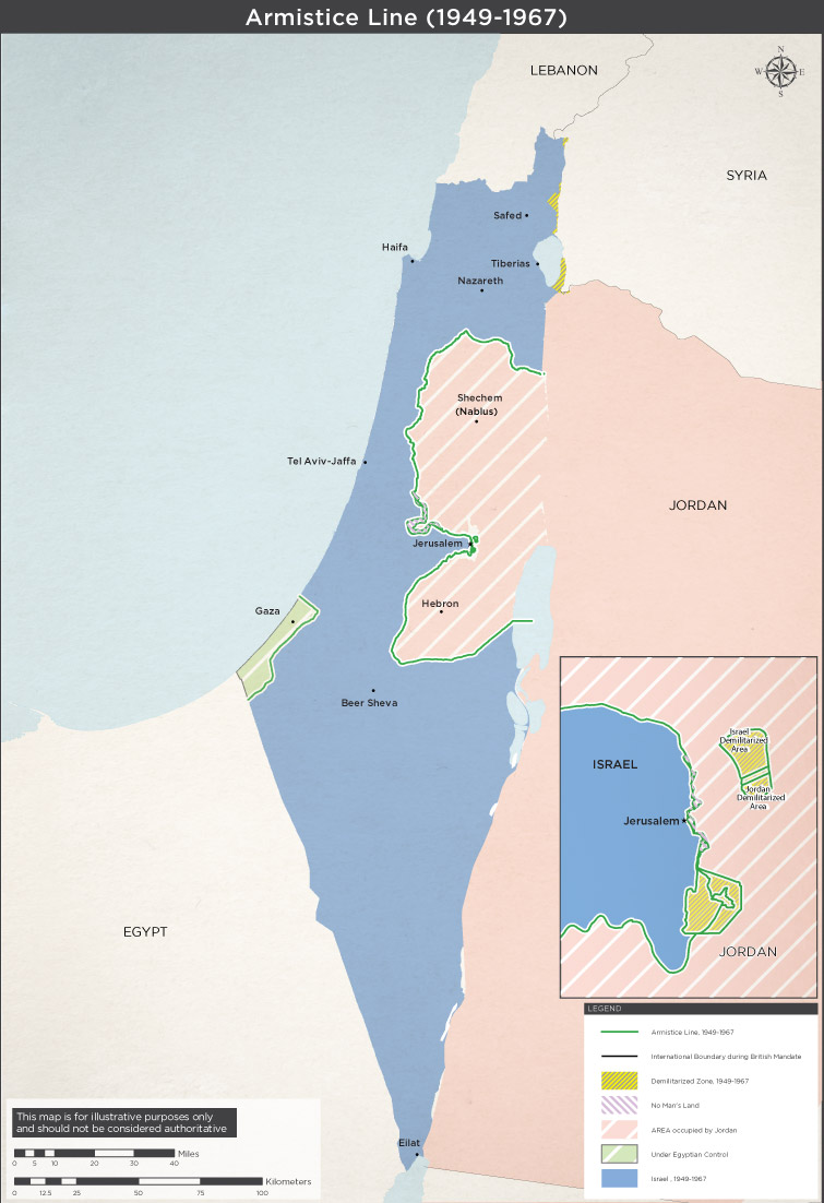 Map of israels pre 1967 borders six day war maps israels pre 1967 borders gumiabroncs Choice Image
