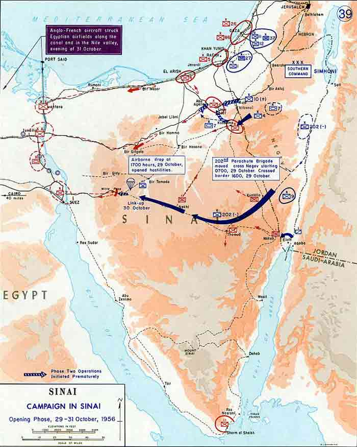 Map Of Sinai Opening Moves October 1956 - 1700-us-map