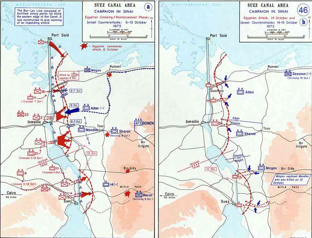 Map of The Sinai Campaign in the Yom Kippur War (October 1973)