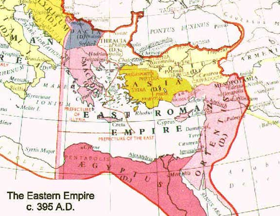 Map of The Eastern Roman Empire (395 CE)