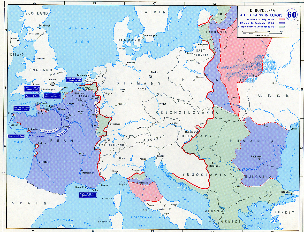 Map of Allied Gains in Europe (1944)