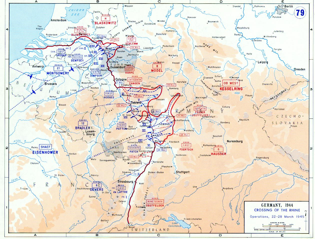 sources united states military academy. map of the allies cross the rhine river (march )