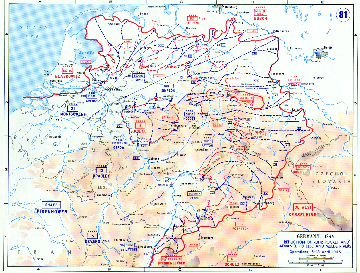 Map of Allied Advance to the Elbe and Mulde Rivers (April 1945)