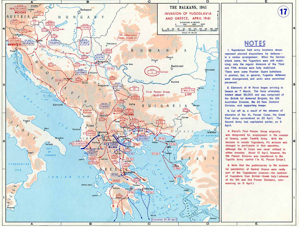 Map Of The Nazi Invasion Of Yugoslavia And Greece April 1941