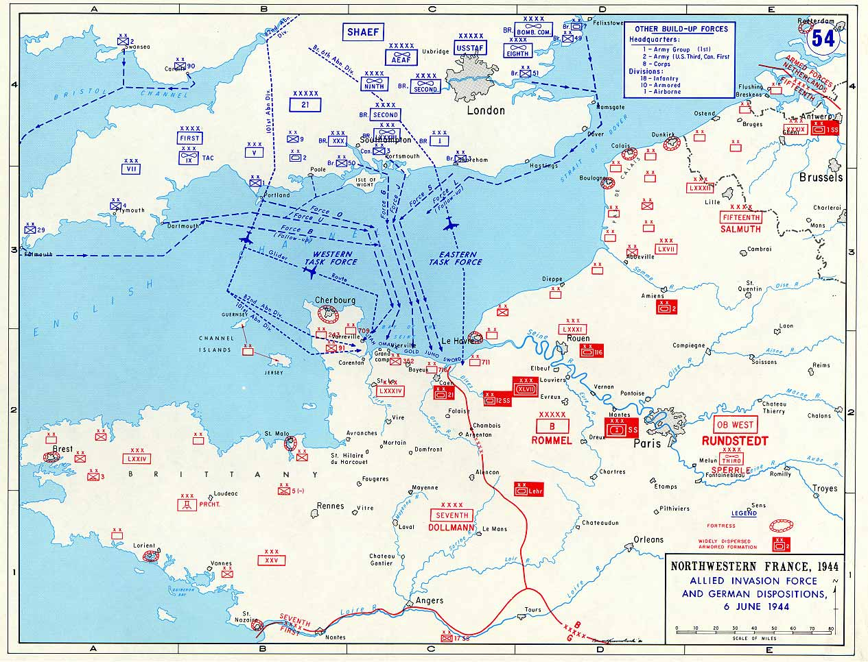 Normandy Landings Map Map of the Allied Landings in Normandy