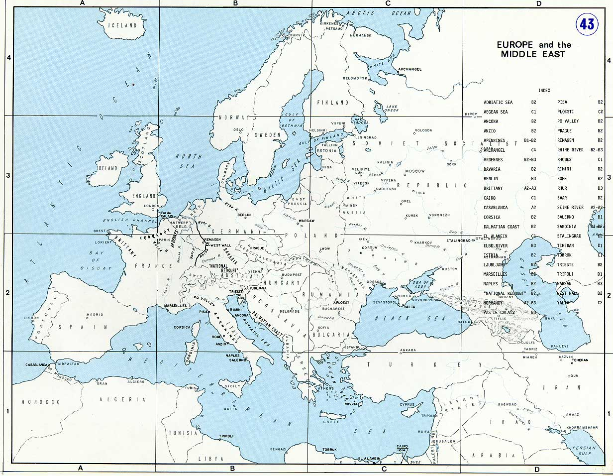 Map Of Europe And The Middle East Prior To World War Ii