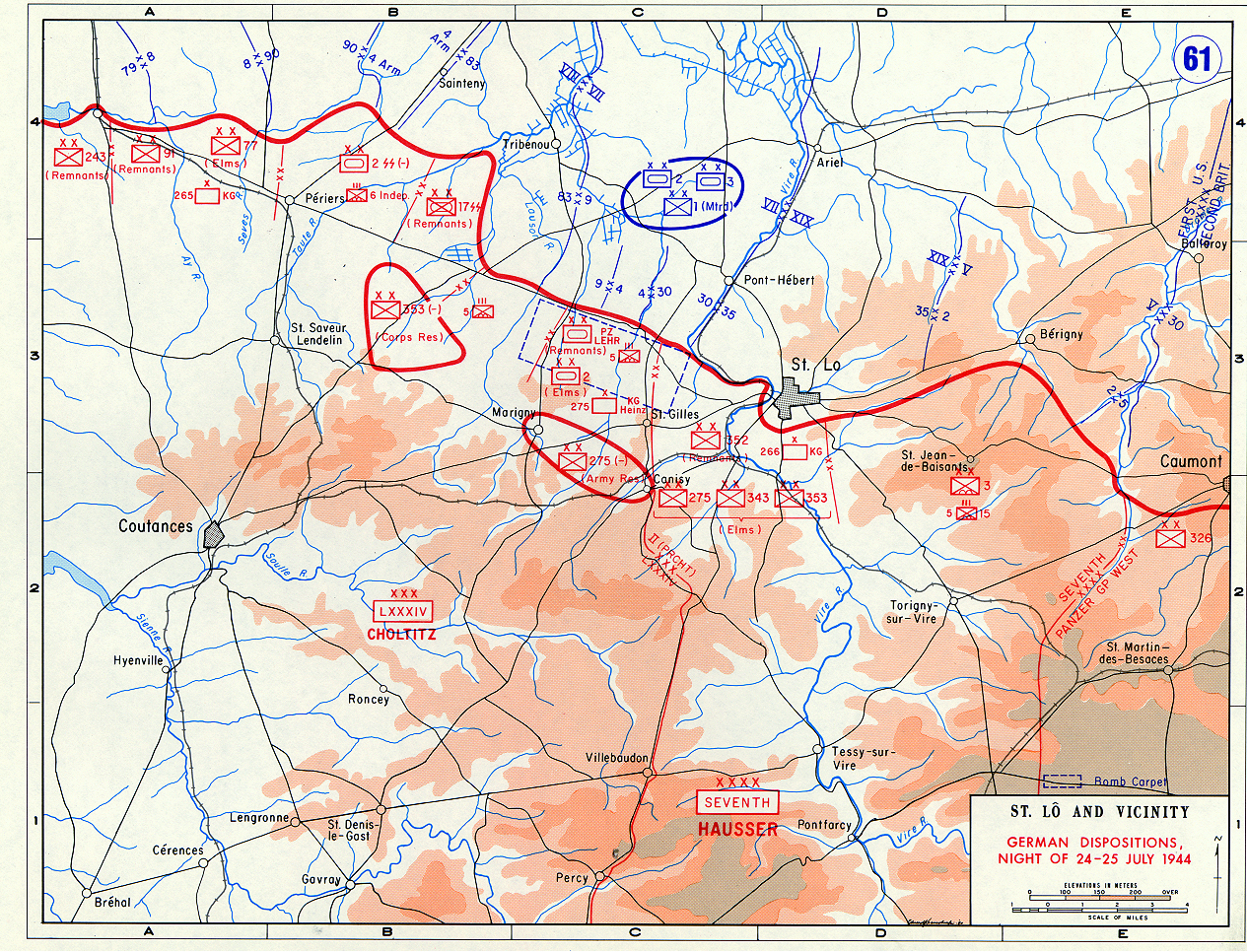 Map Of North France.Map Of Allied Campaign In Northern France July 1944