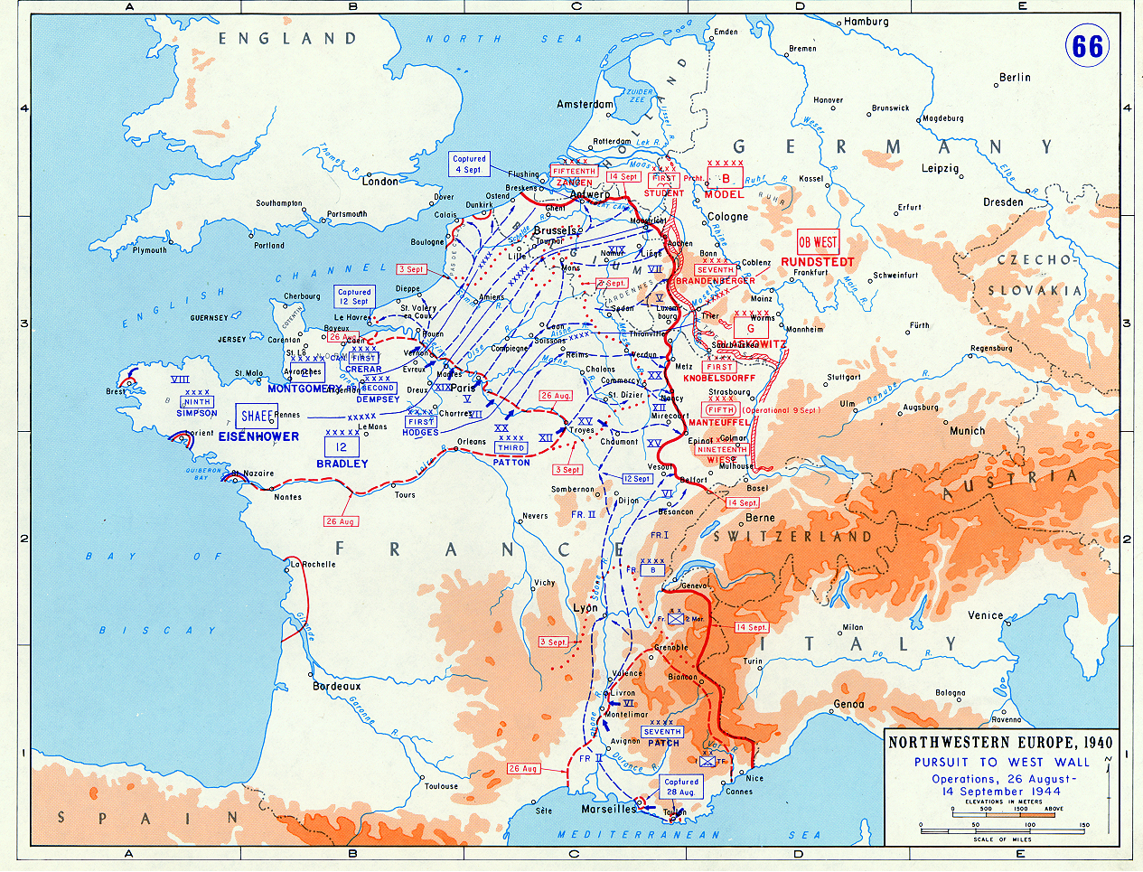 West Of France Map.Map Of Allied Pursuit To The West Wall August September 1944