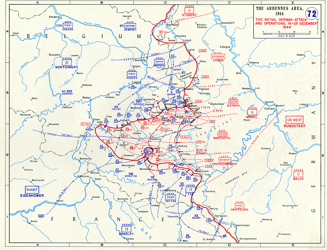 Map of German Counterattack in the Ardennes The Battle of the