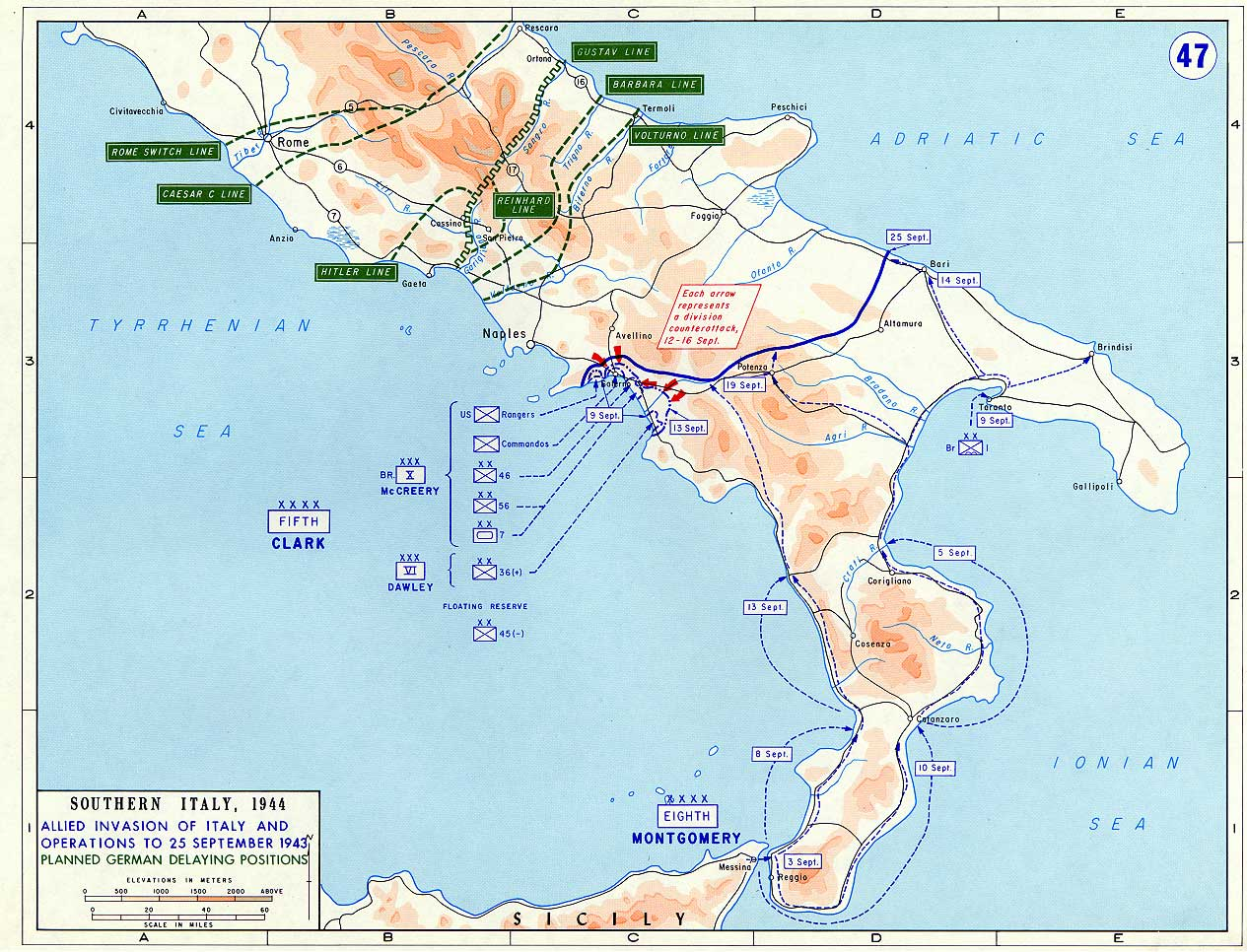 Map of allied invasion of italy september 1943 maps of allied offensives allied invasion of italy gumiabroncs Choice Image
