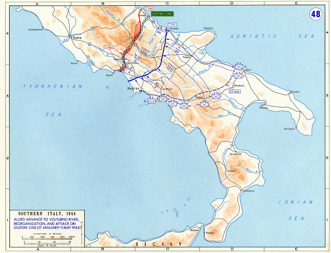 Map of Allied Advance to Volturno River (January-May 1944)