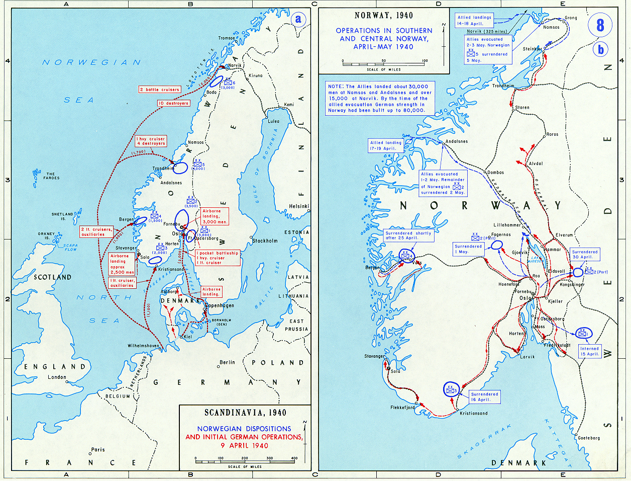 Map of Norway During World War II