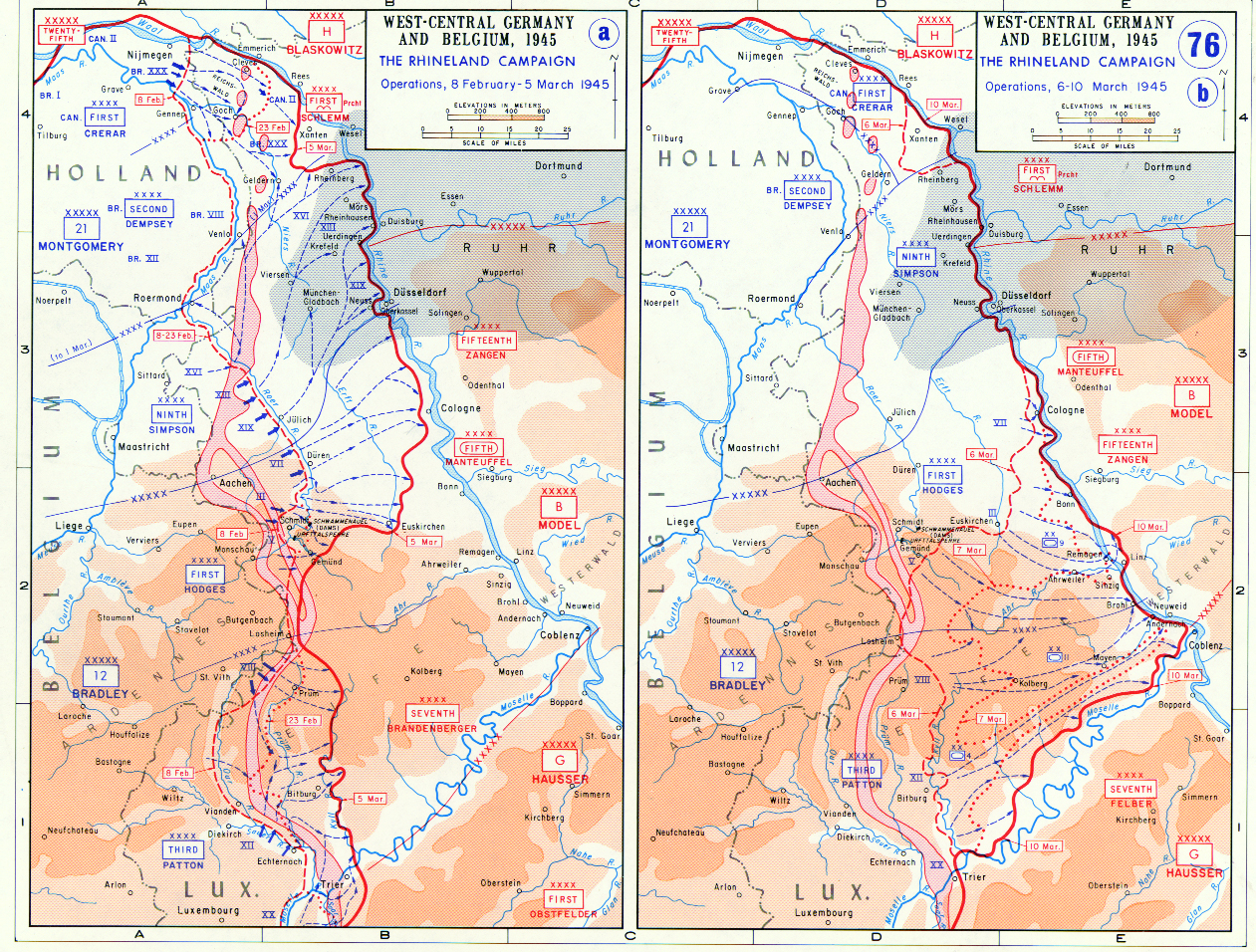 Map Of The Rhineland Campaign In West Germany And Belgium - Germany map 1945
