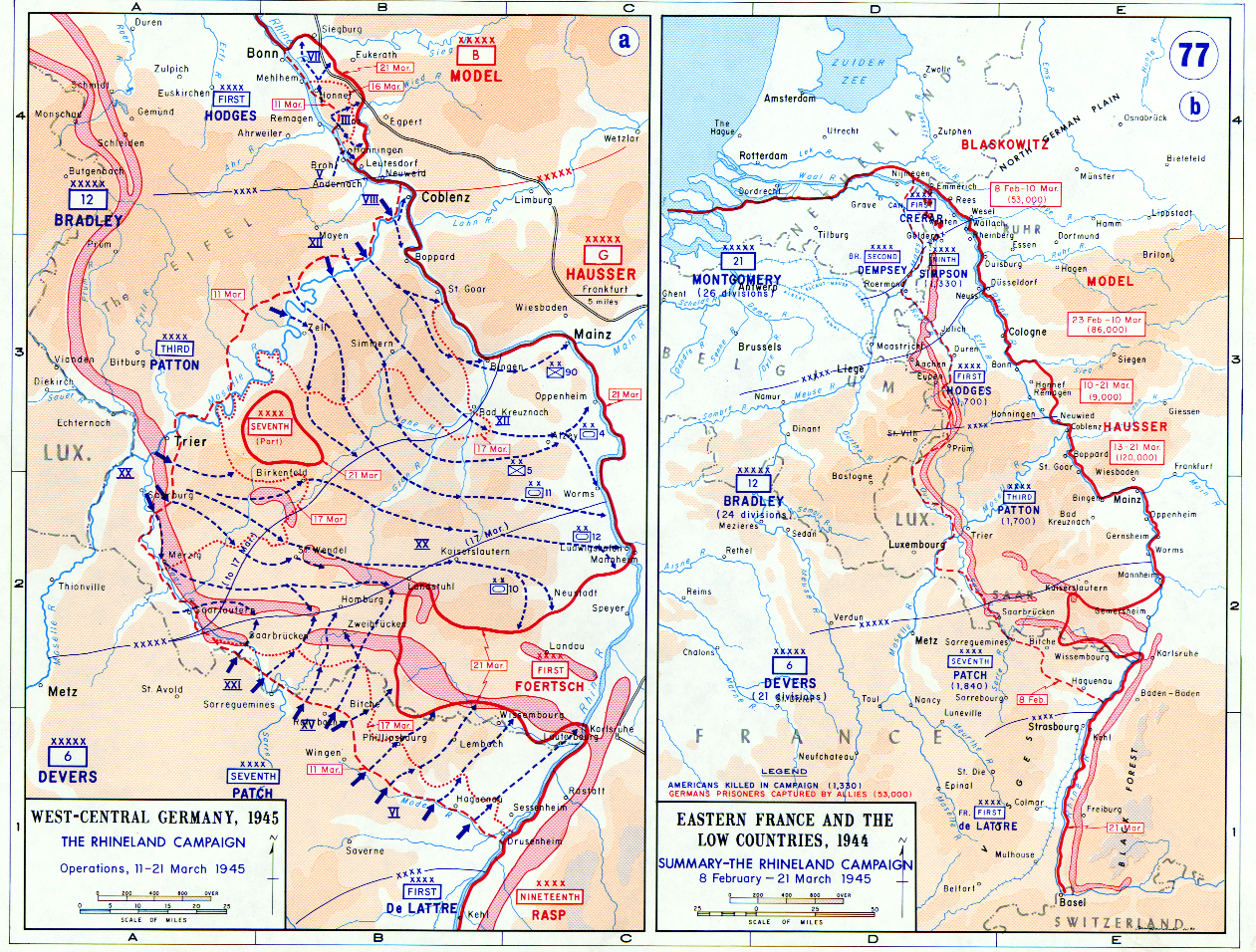 Map Of The Rhineland Campaign In Germany And The Low Countries - Germany map 1945