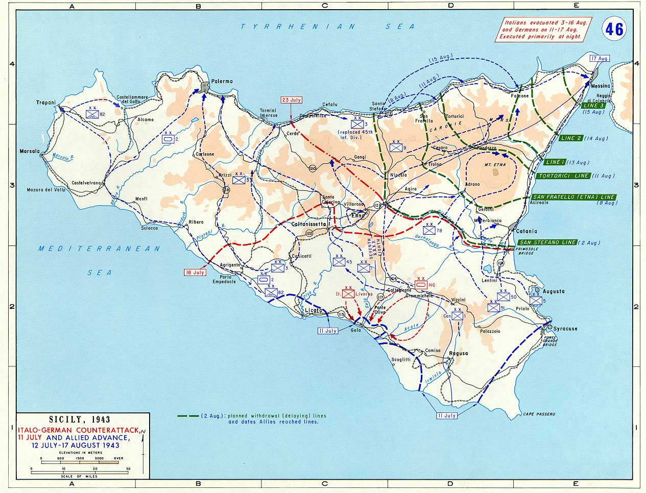 Map of German-Italian Counterattack on Sicily (July 1943)