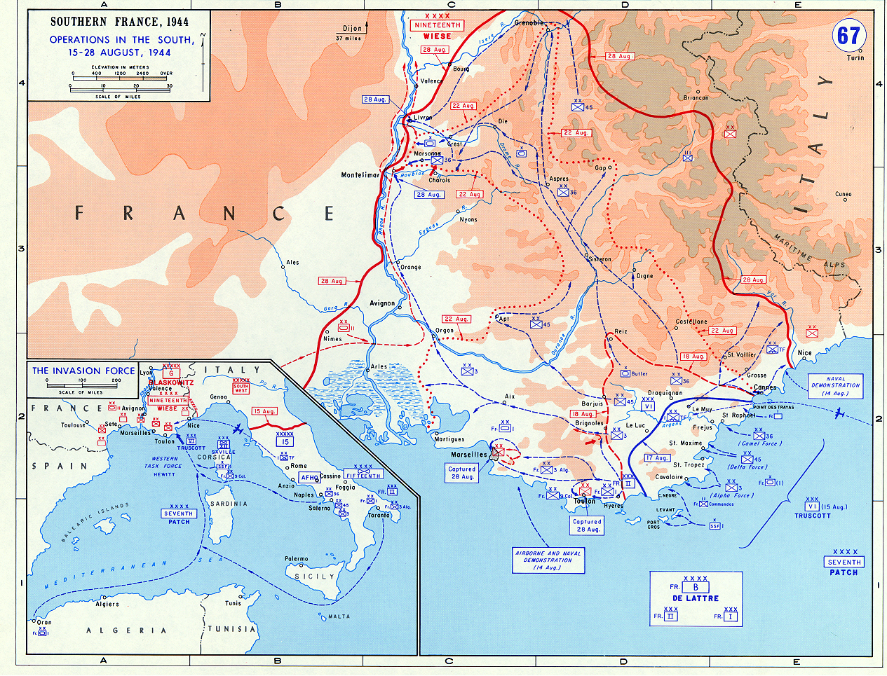 map of allied operations in southern france august 1944