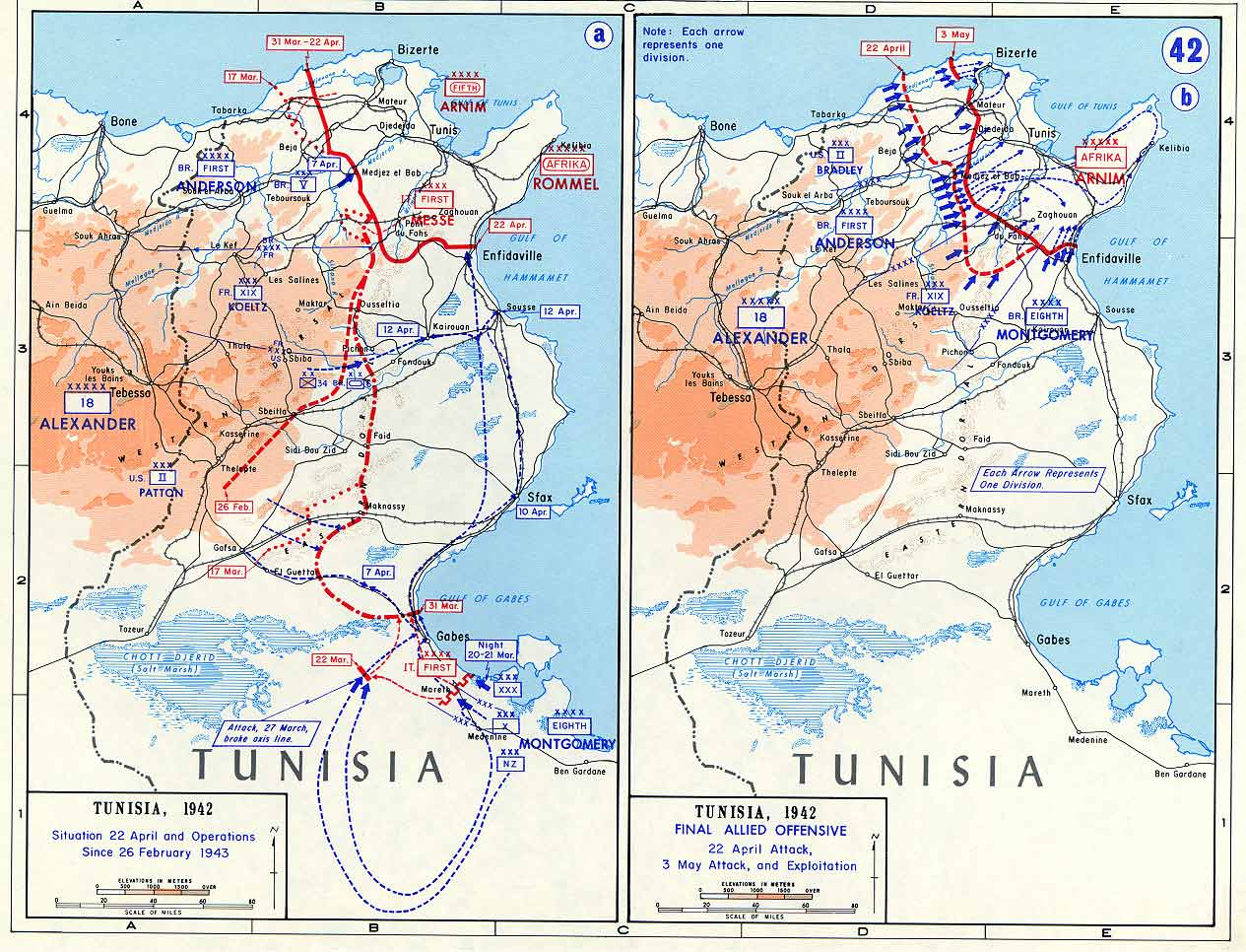 Map of Final Allied Offensive into Tunisia April May 1943