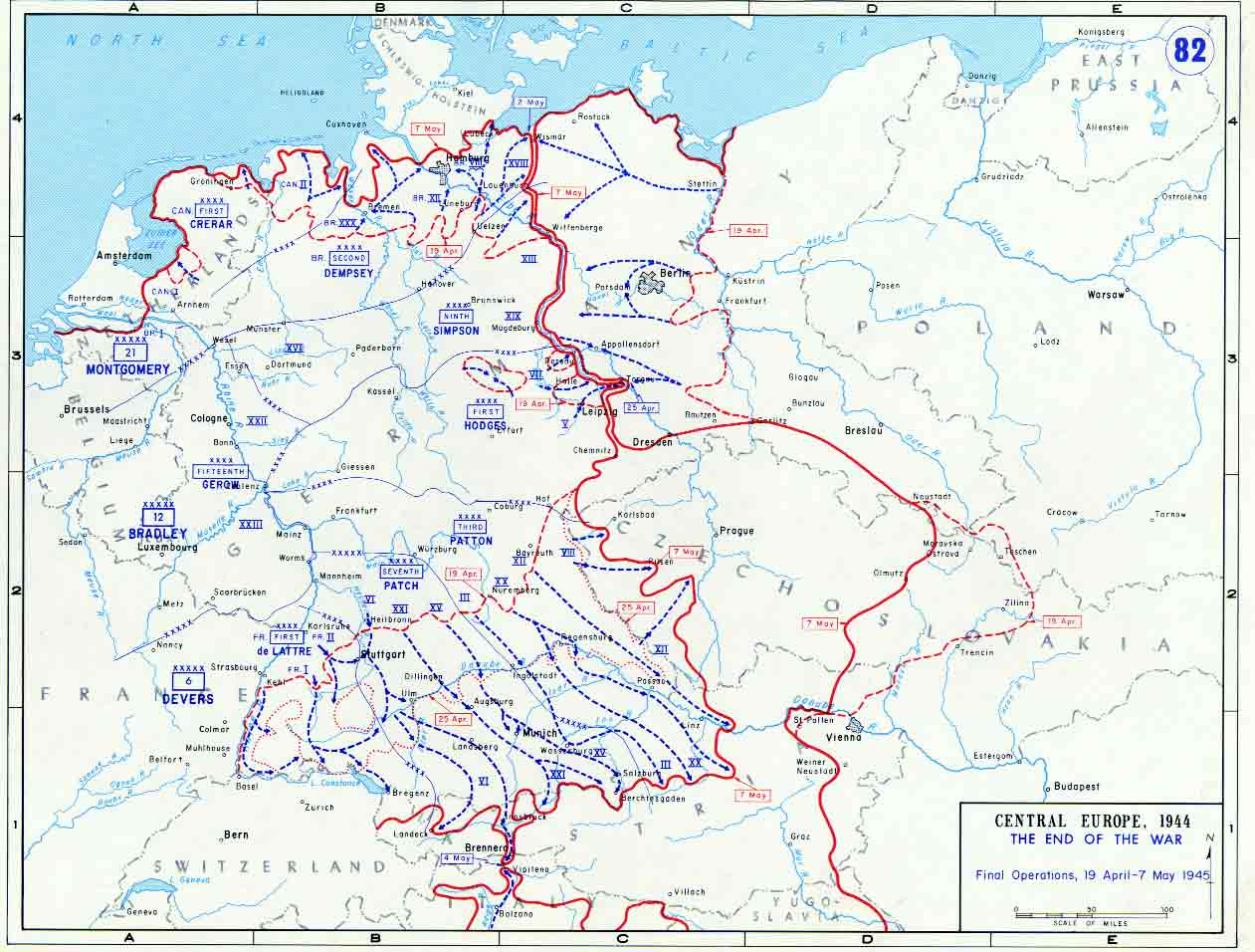 Map of Final Allied Operations of World War II (April-May 1945)