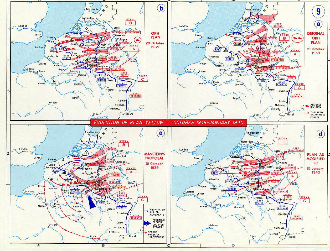 Map Of Germany 1939.Map Of The German Campaign In Western Europe 1939 1940