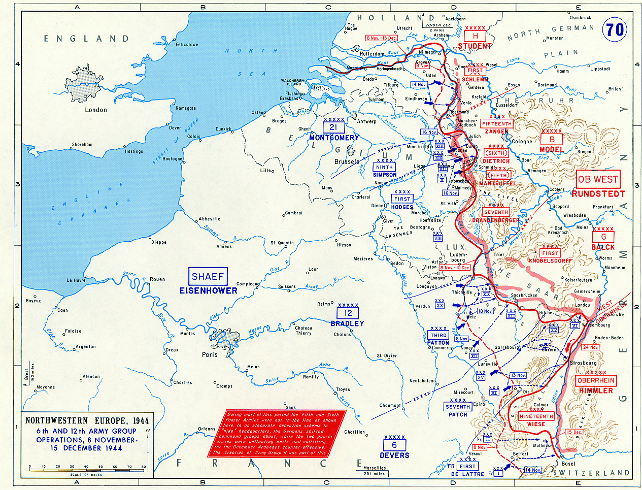 Map Of Allied Operations In Northwestern Europe NovemberDecember - Europe map 1944