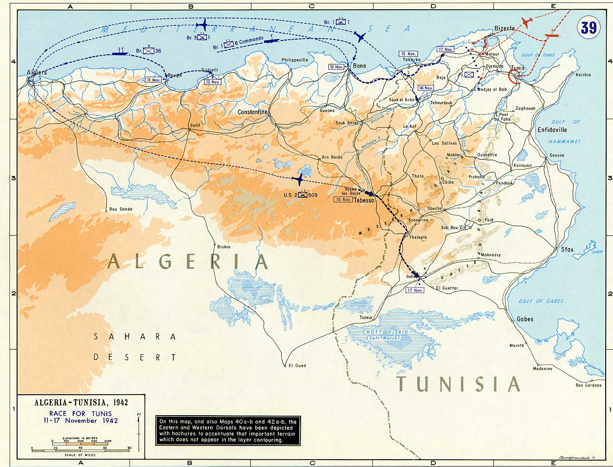 Map of Algeria and Tunisia (November 1942)