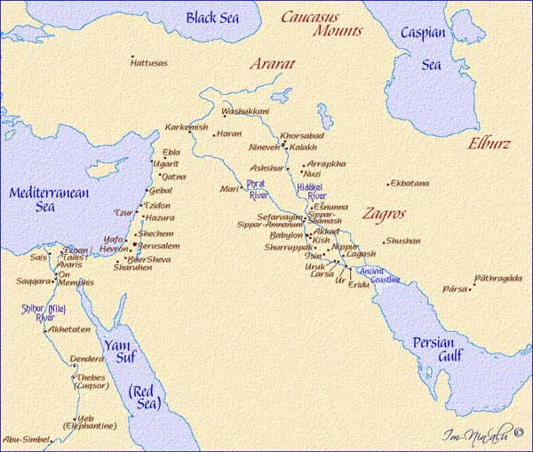 Map of Cities of the Ancient Middle East
