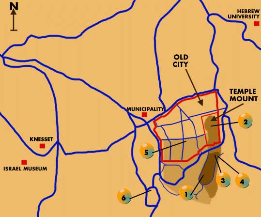 Map of Jerusalem Sites in the First Temple Period