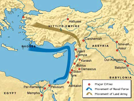 Map Of Sea Peoples In The Late Bronze Age Jewish Virtual