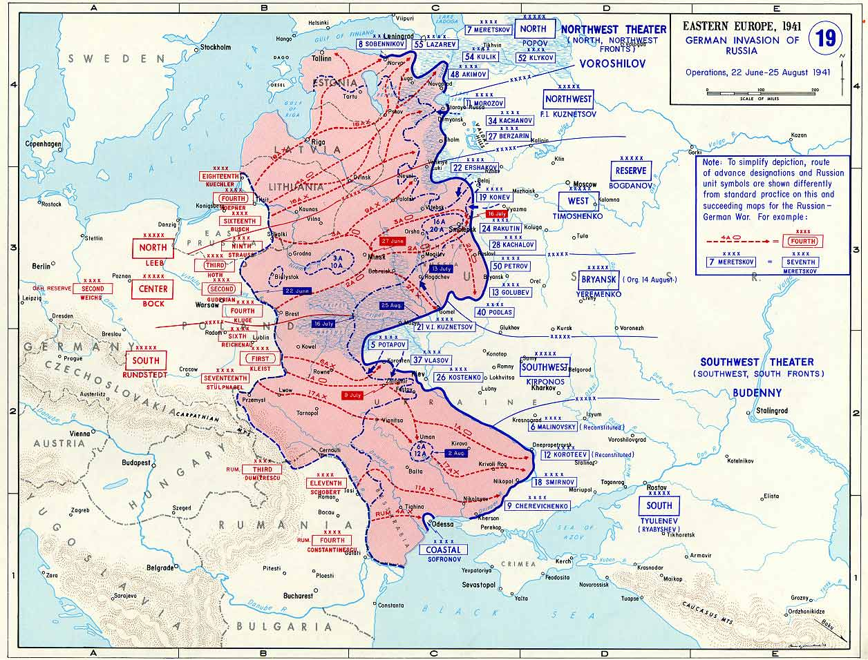 Map of German Invasion of Russia (June-August 1941)