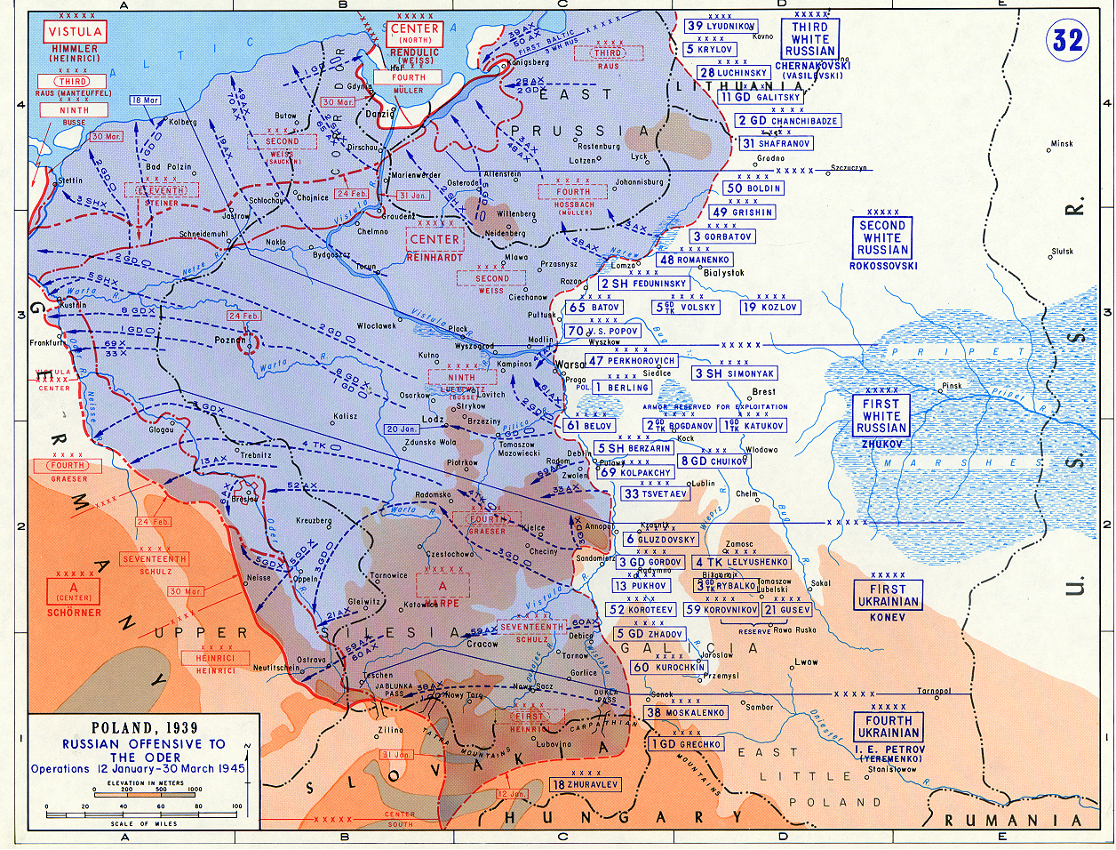 Map Of Russian Offensive To The Oder River JanuaryMarch - Map in russian
