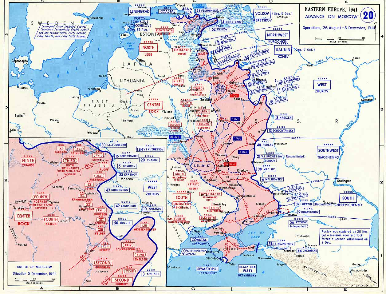 map of german advance on moscow august december 1941. Black Bedroom Furniture Sets. Home Design Ideas