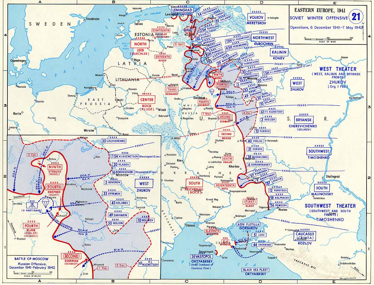 Map Of Germany 1942.Map Of Soviet Offensive Against Germany December 1941 May 1942