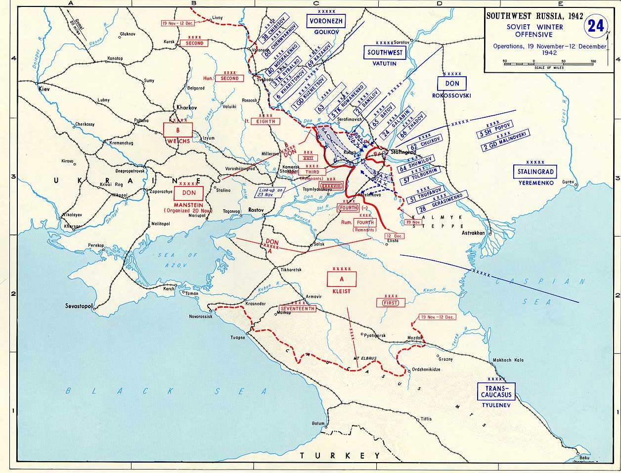 Map Of Germany 1942.Map Of Soviet Winter Offensive Against Germany November December 1942
