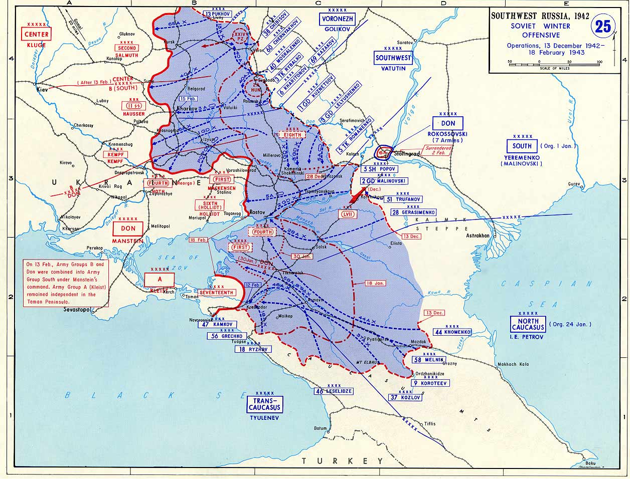 Map Of Germany 1942.Map Of Second Soviet Winter Offensive Against Germany December 1942