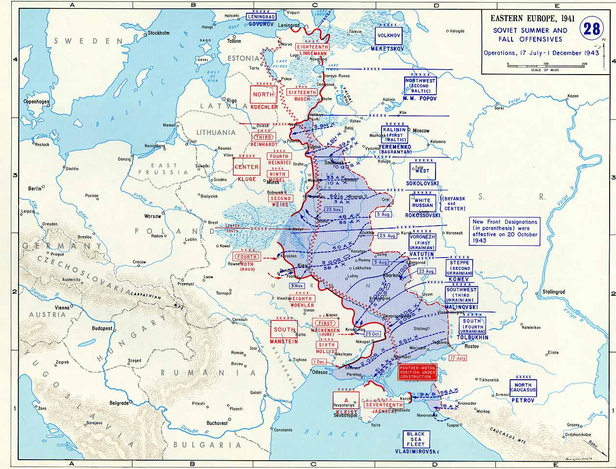 Map of soviet summer and fall offensives against germany july wwii war theatre maps soviet summer and fall offensives against germany gumiabroncs