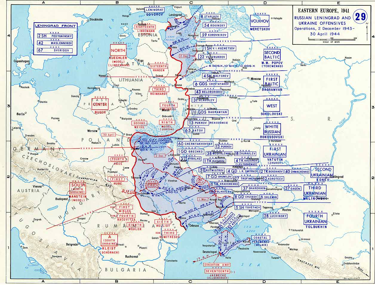 Map of leningrad and ukraine offensives december 1943 april 1944 wwii war theatre maps leningrad and ukraine offensives gumiabroncs