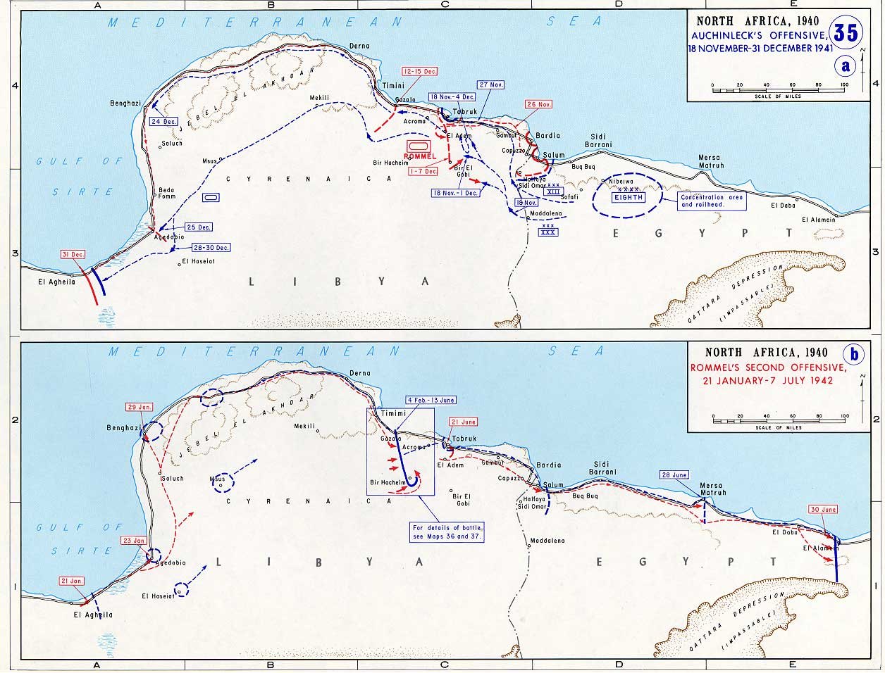 Map of German Offensives into North Africa (1941 1942)
