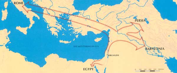 Map of the roman exile 70 ce though some jews remained in israel most fled the country thus beginning a two thousand year odyssey in the diaspora gumiabroncs