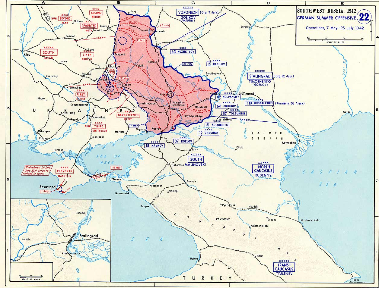 Map Of Germany And Russia.Map Of German Offensive Into Southwest Russia May July 1942