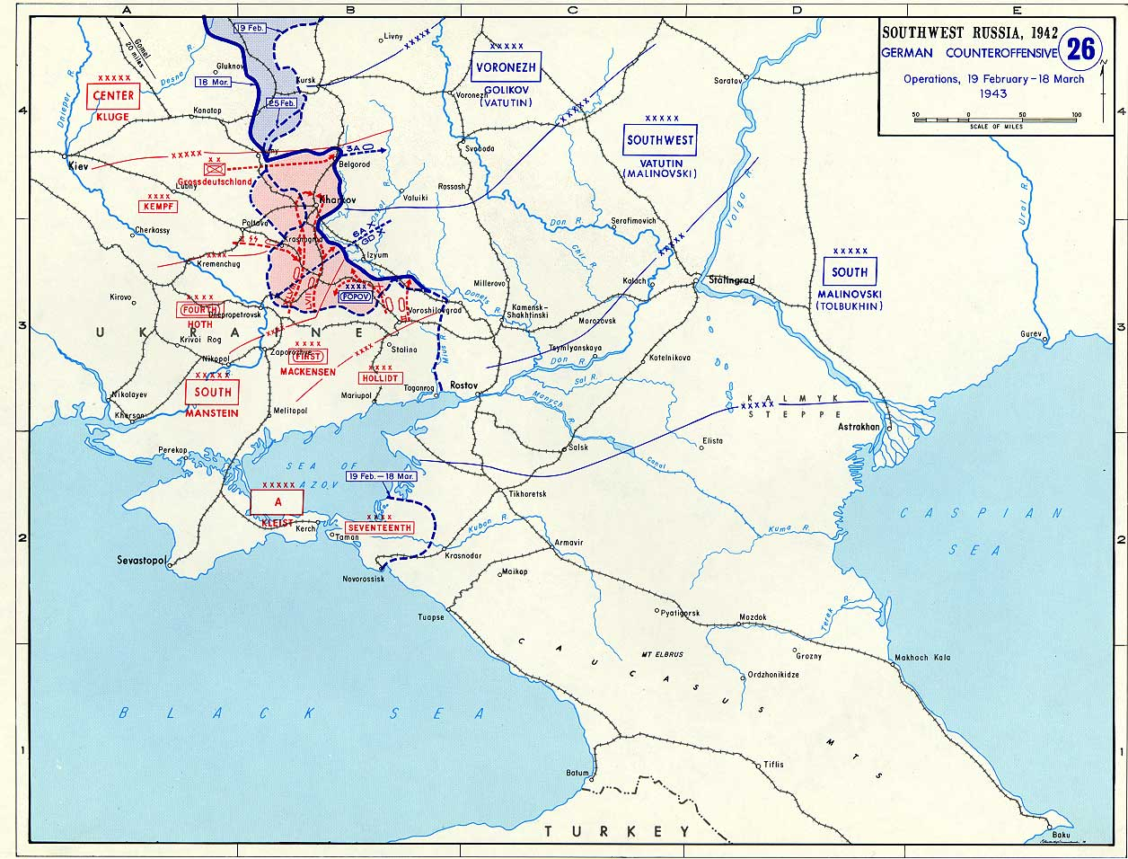 Map Of Germany And Russia.Map Of German Counteroffensive Into Southwest Russia February March